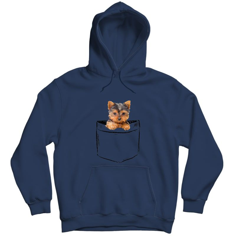 Pocket Baby Yorkie Dog Love-r Dad Mom, Boy Girl Funny T-shirt Unisex Pullover Hoodie