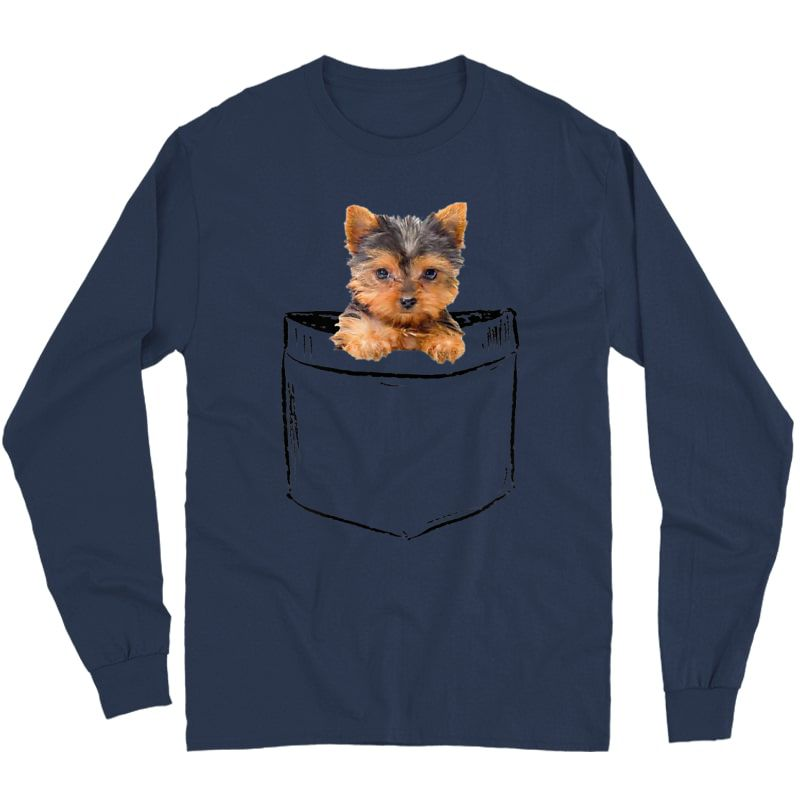 Pocket Baby Yorkie Dog Love-r Dad Mom, Boy Girl Funny T-shirt Long Sleeve T-shirt