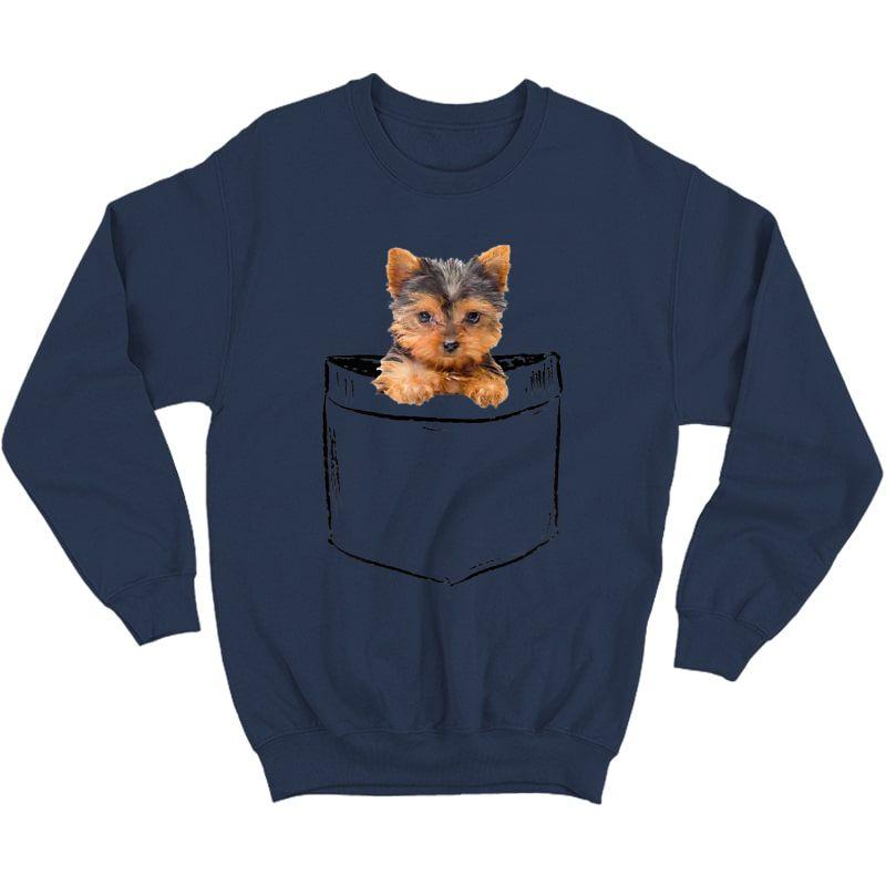 Pocket Baby Yorkie Dog Love-r Dad Mom, Boy Girl Funny T-shirt Crewneck Sweater