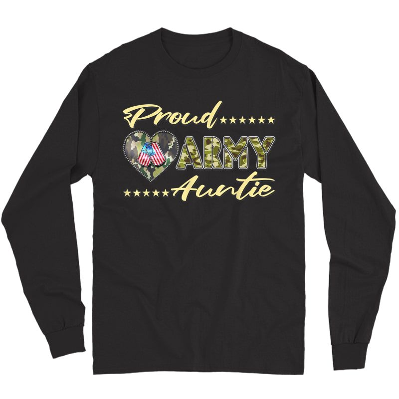Proud Army Auntie Us Flag Dog Tags Military Aunt Family Gift T-shirt Long Sleeve T-shirt