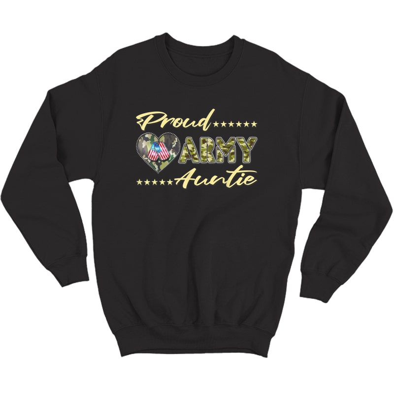 Proud Army Auntie Us Flag Dog Tags Military Aunt Family Gift T-shirt Crewneck Sweater