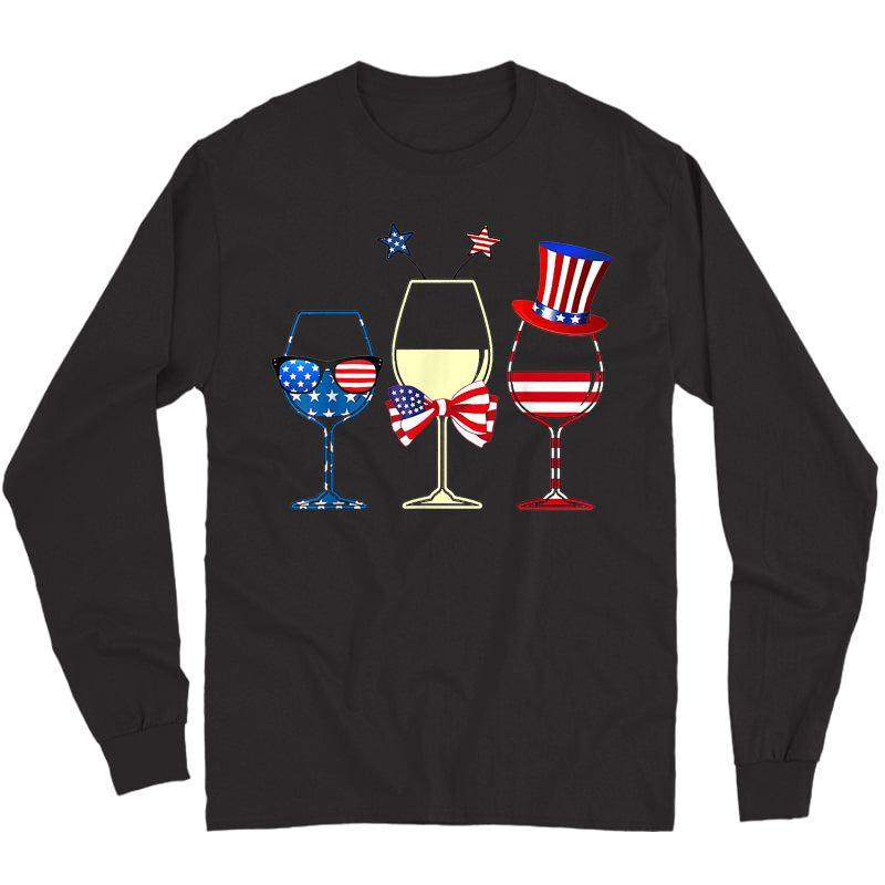 Red Blue Wine Glasses American Flag 4th Of July T-shirt Long Sleeve T-shirt