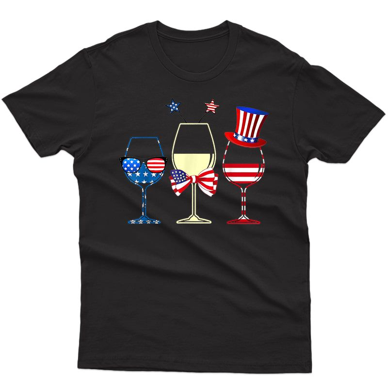 Red Blue Wine Glasses American Flag 4th Of July T-shirt