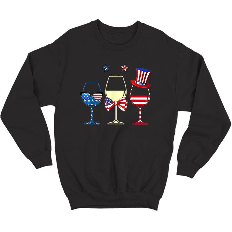 Red Blue Wine Glasses American Flag 4th Of July T-shirt Crewneck Sweater