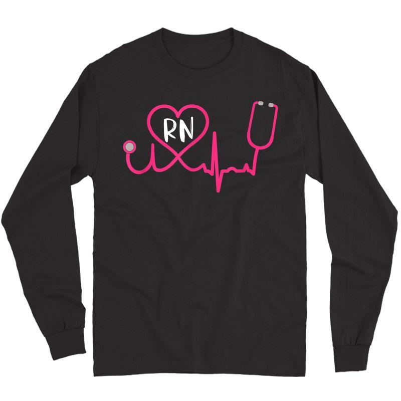 Registered Nurse Rn Ekg Stethoscope Heart Heartbeat T-shirt Long Sleeve T-shirt