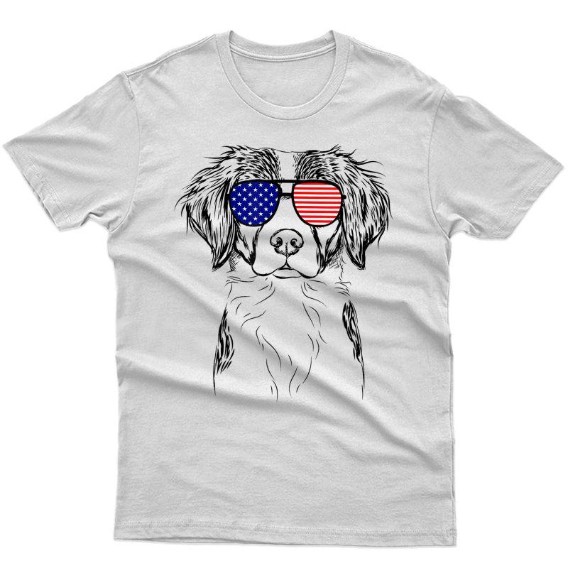 Remi The Brittany American Sunglasses Dog T-shirt