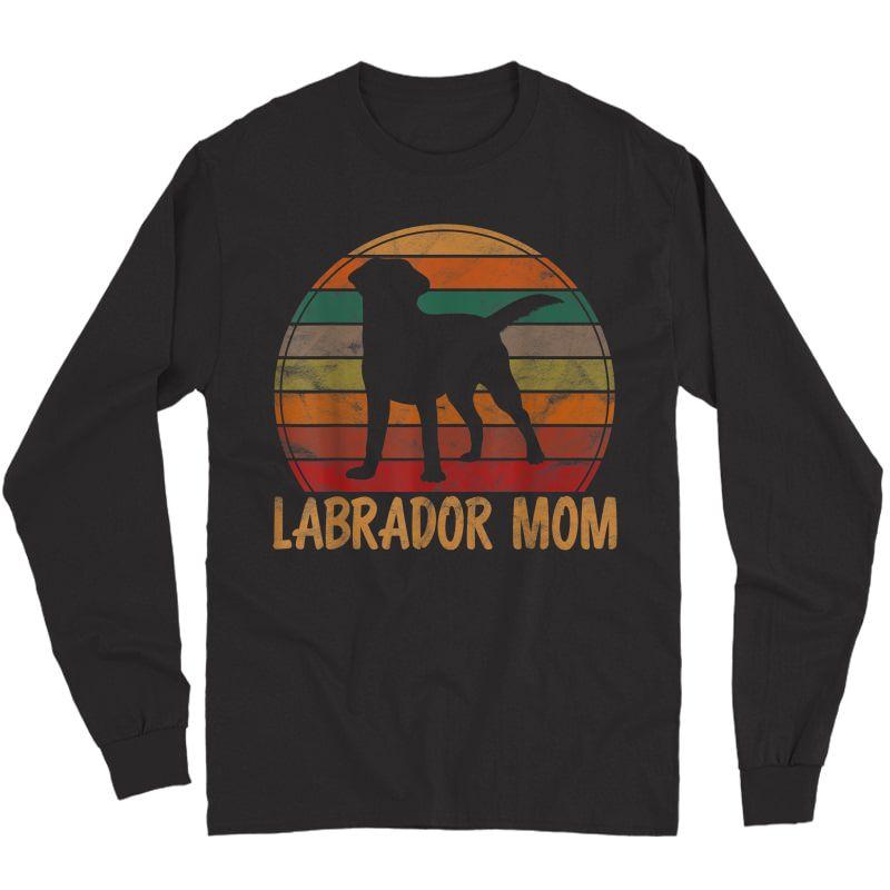 Retro Labrador Mom Dog Mother Pet Golden Black Lab Mama T-shirt Long Sleeve T-shirt