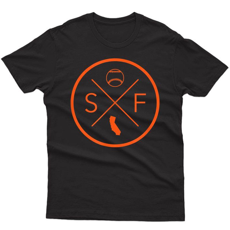San Francisco Baseball California State Map Outline Sf T-shirt