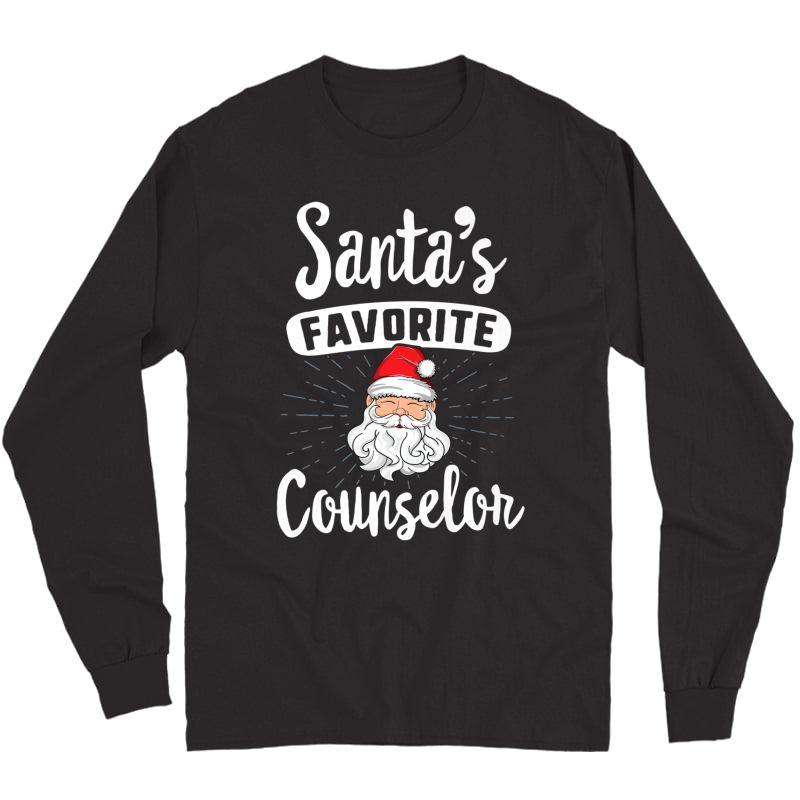 Santa's Favorite Counselor Christmas Shirt School Gift Long Sleeve T-shirt