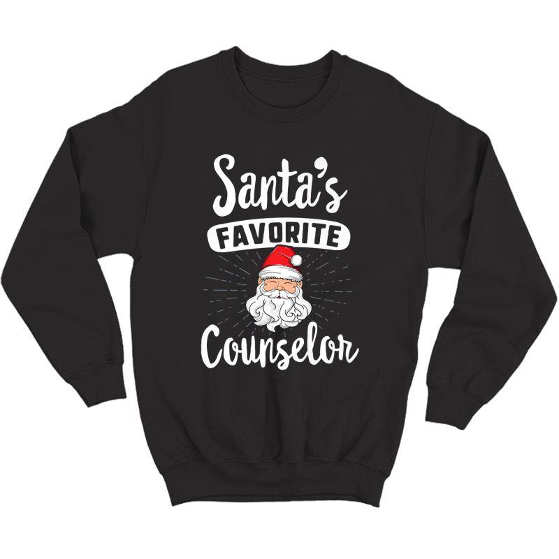 Santa's Favorite Counselor Christmas Shirt School Gift Crewneck Sweater