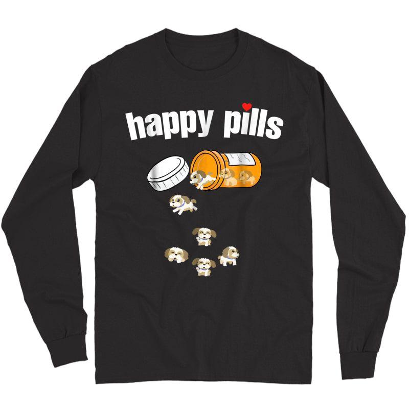 Shih Tzu Pills Funny Dog T Shirt Long Sleeve T-shirt