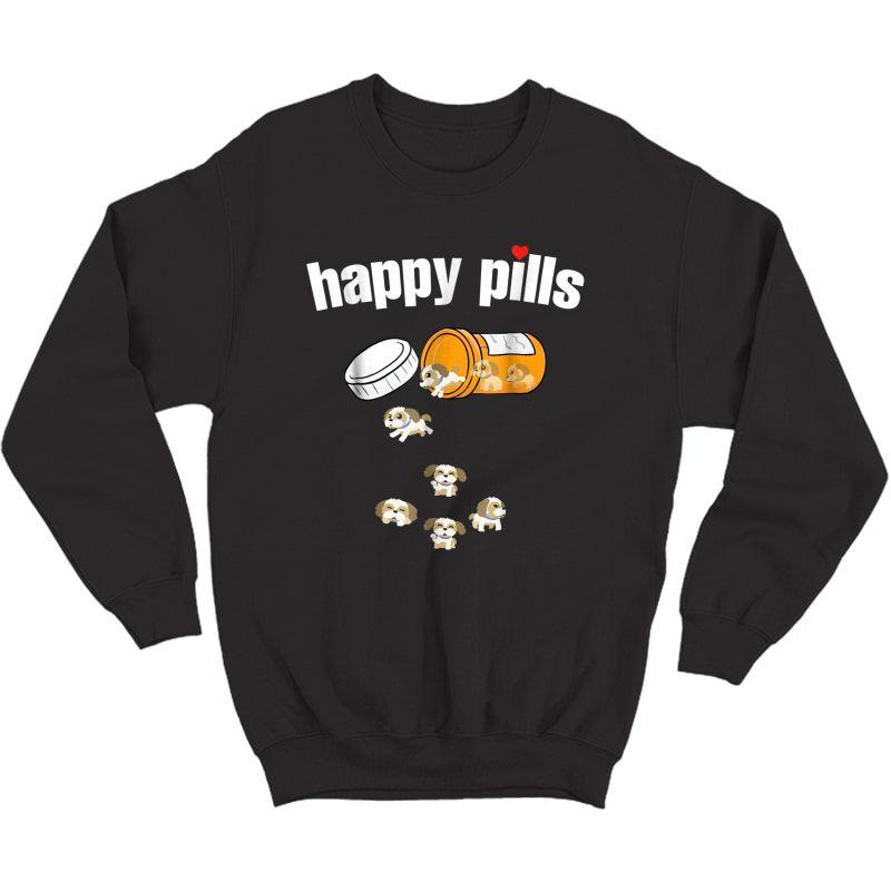 Shih Tzu Pills Funny Dog T Shirt Crewneck Sweater