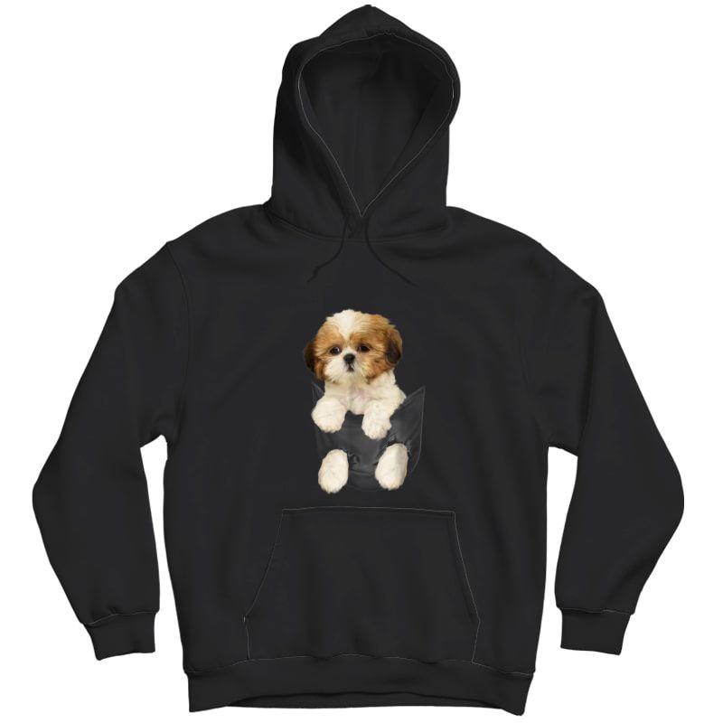Shih Tzu Puppy In Pocket T-shirt Unisex Pullover Hoodie