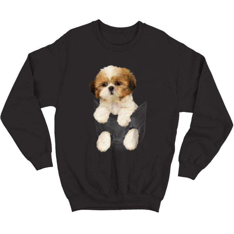 Shih Tzu Puppy In Pocket T-shirt Crewneck Sweater