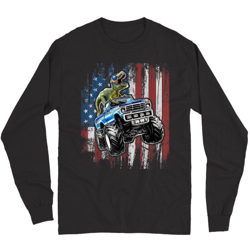 T Rex Dinosaur Monster Truck 4th Of July American Flag T-shirt Long Sleeve T-shirt