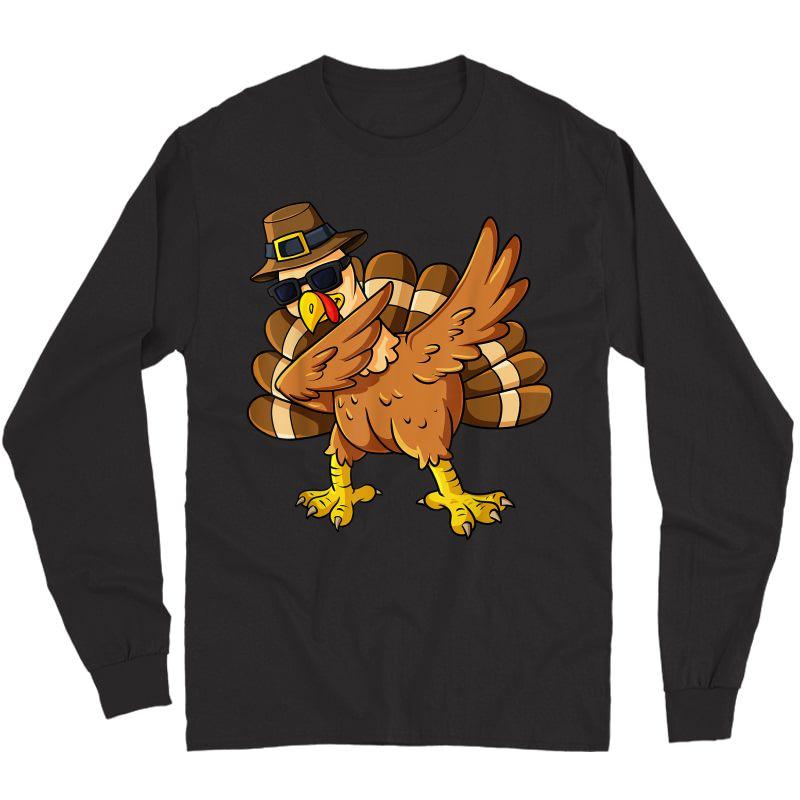 Thanksgiving Day Dabbing Turkey Pilgrim Girls T-shirt Long Sleeve T-shirt