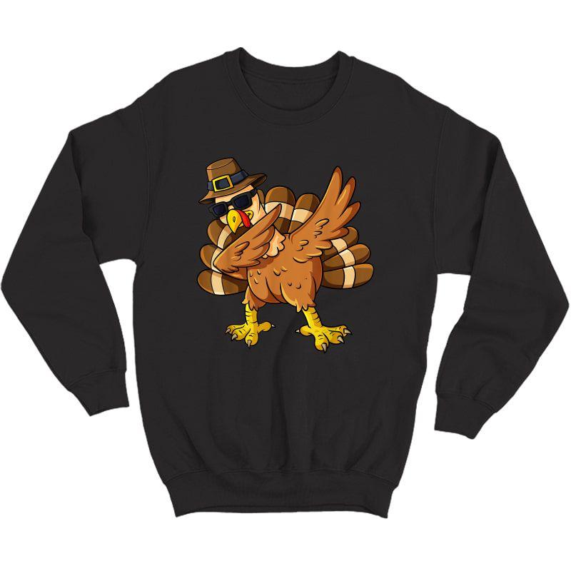 Thanksgiving Day Dabbing Turkey Pilgrim Girls T-shirt Crewneck Sweater