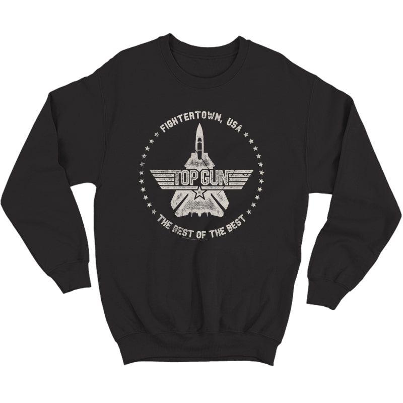 Top Gun Fightertown Usa Circle 1 Color Distressed T-shirt Crewneck Sweater