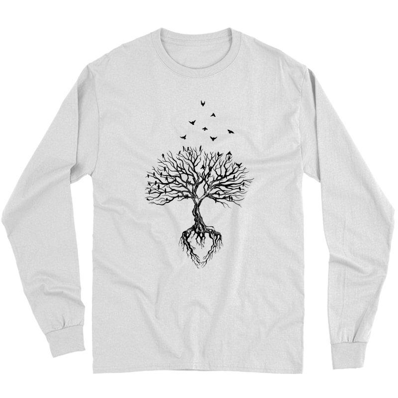 Tree Bird T-shirt, Life Symbol, Yoga Gift Shirt Long Sleeve T-shirt