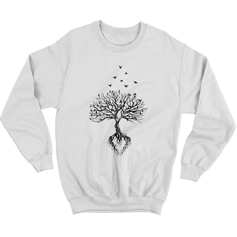 Tree Bird T-shirt, Life Symbol, Yoga Gift Shirt Crewneck Sweater