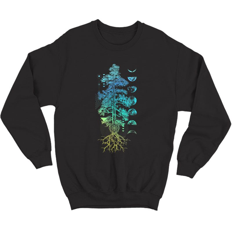 Tree Of Life Phases Of The Moon Yoga Chakra Gift Earth Day T-shirt Crewneck Sweater