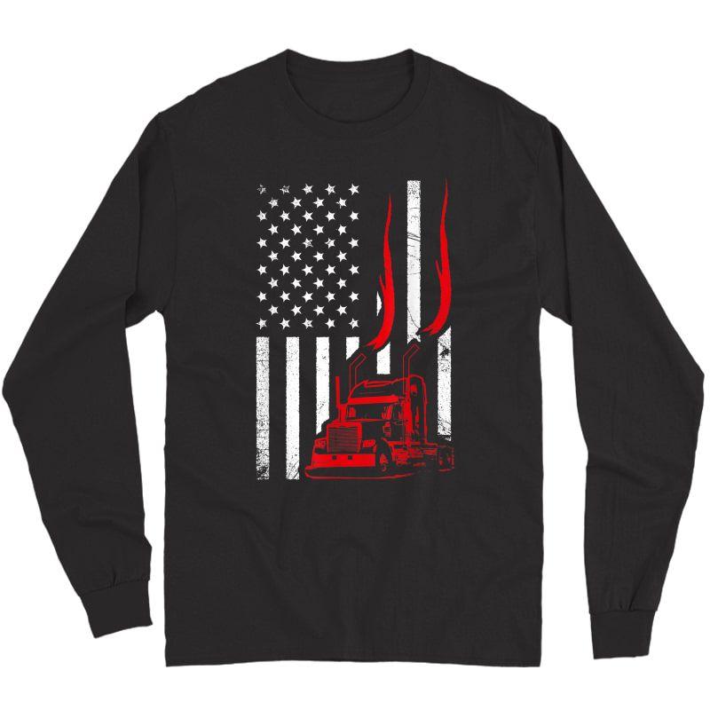 Trucker American Flag Image Truck Driver Dad Illustration T-shirt Long Sleeve T-shirt