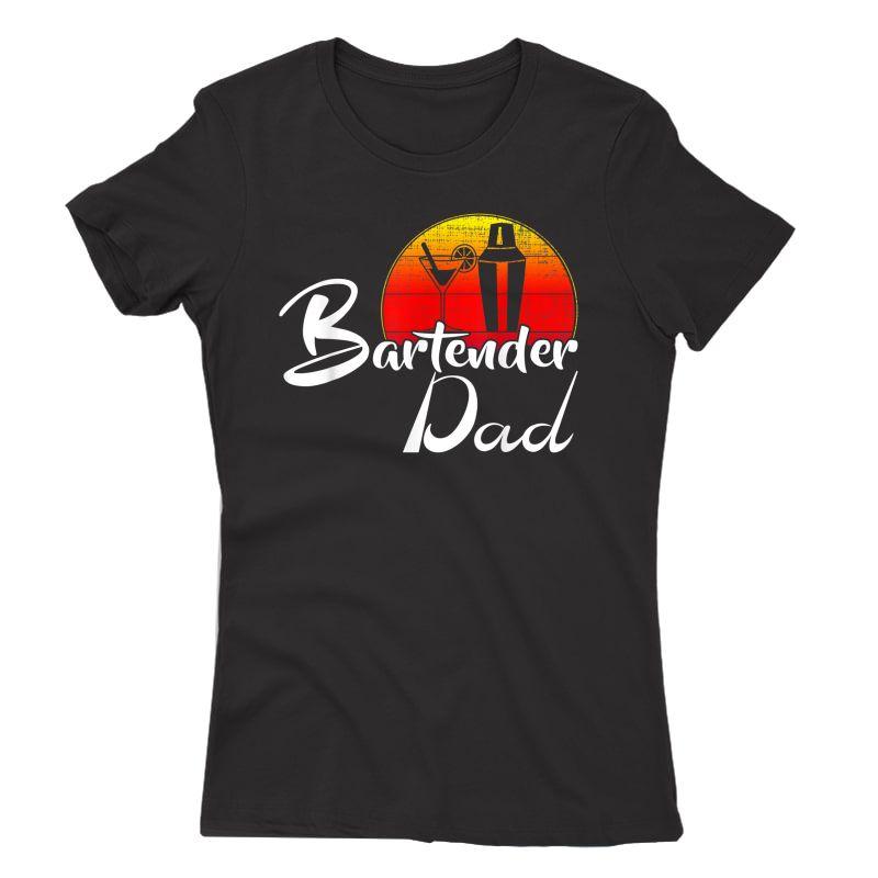 Vintage Bartender Dad Retro Sunset Funny Bartending Gift T-shirt