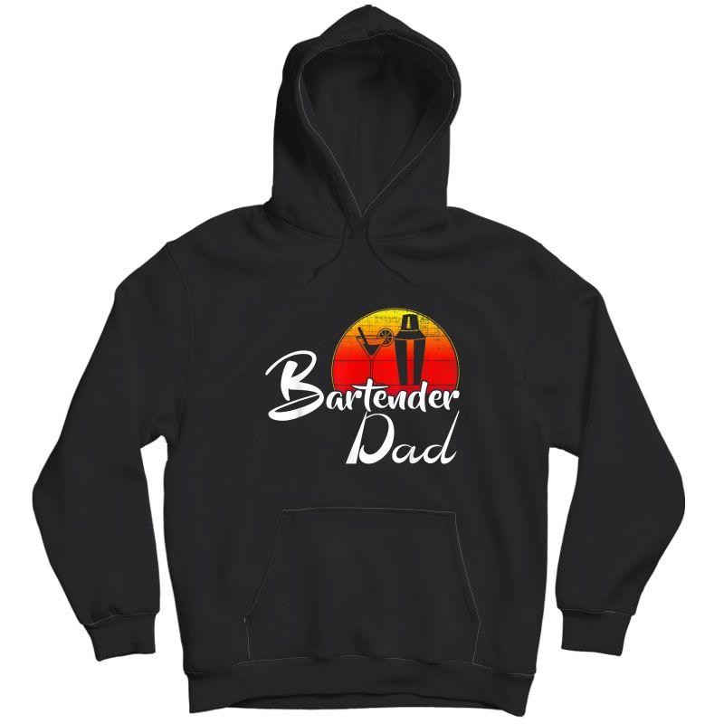 Vintage Bartender Dad Retro Sunset Funny Bartending Gift T-shirt Unisex Pullover Hoodie
