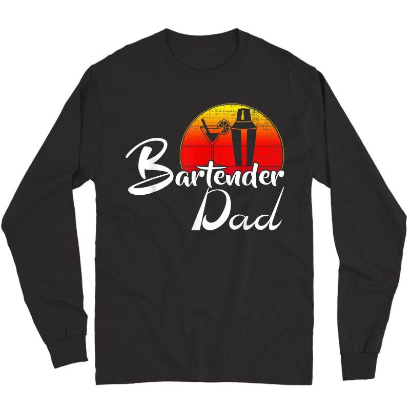 Vintage Bartender Dad Retro Sunset Funny Bartending Gift T-shirt Long Sleeve T-shirt