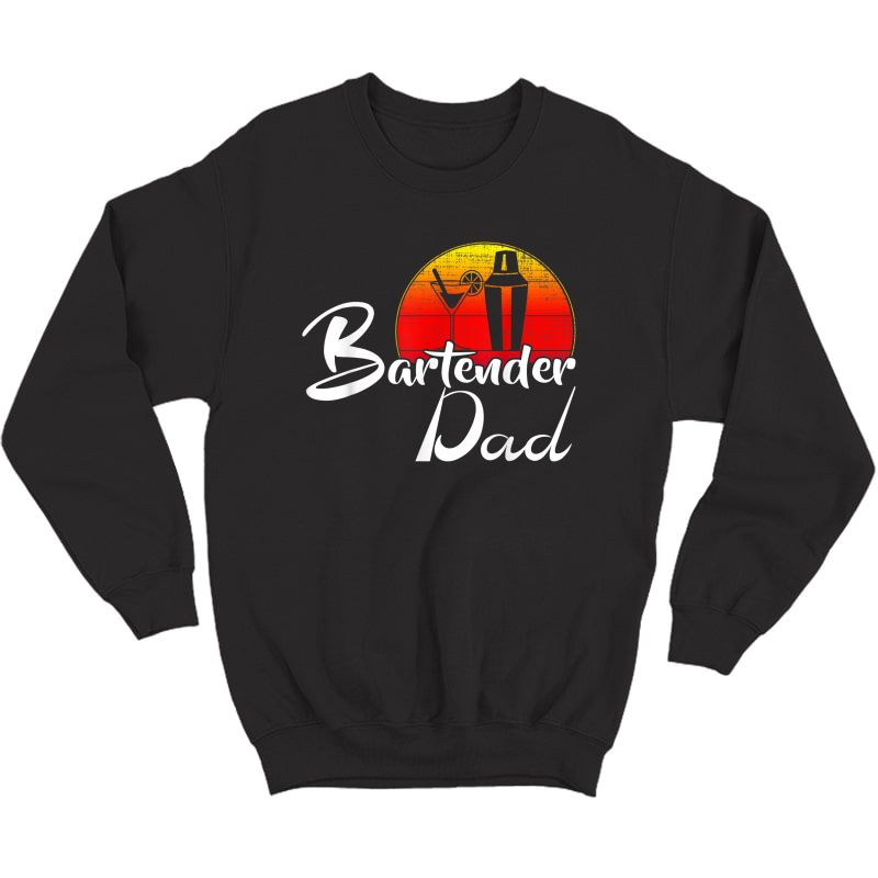 Vintage Bartender Dad Retro Sunset Funny Bartending Gift T-shirt Crewneck Sweater