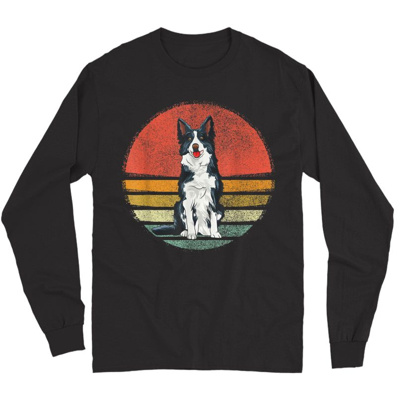 Vintage Border Collie Dog Retro Border Collie Lover T-shirt Long Sleeve T-shirt