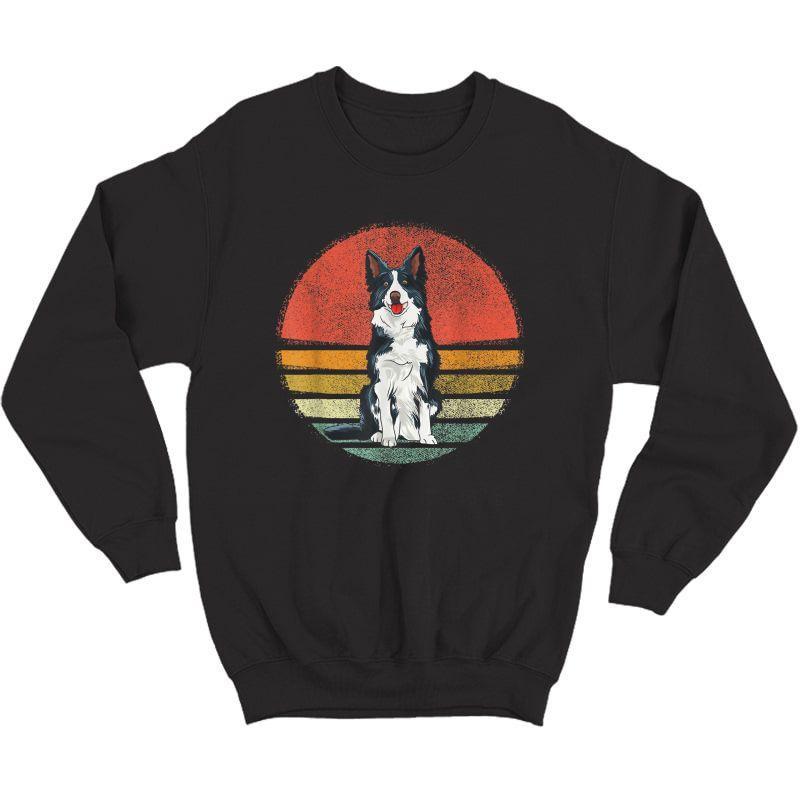 Vintage Border Collie Dog Retro Border Collie Lover T-shirt Crewneck Sweater