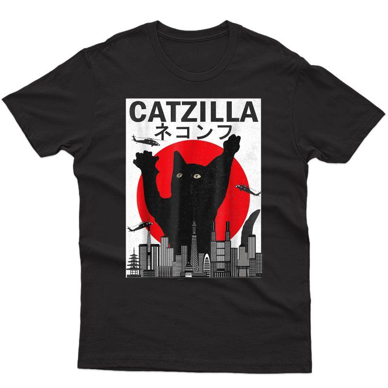 Vintage Catzilla Japanese Sunset Style Cat Kitten Lover T-shirt