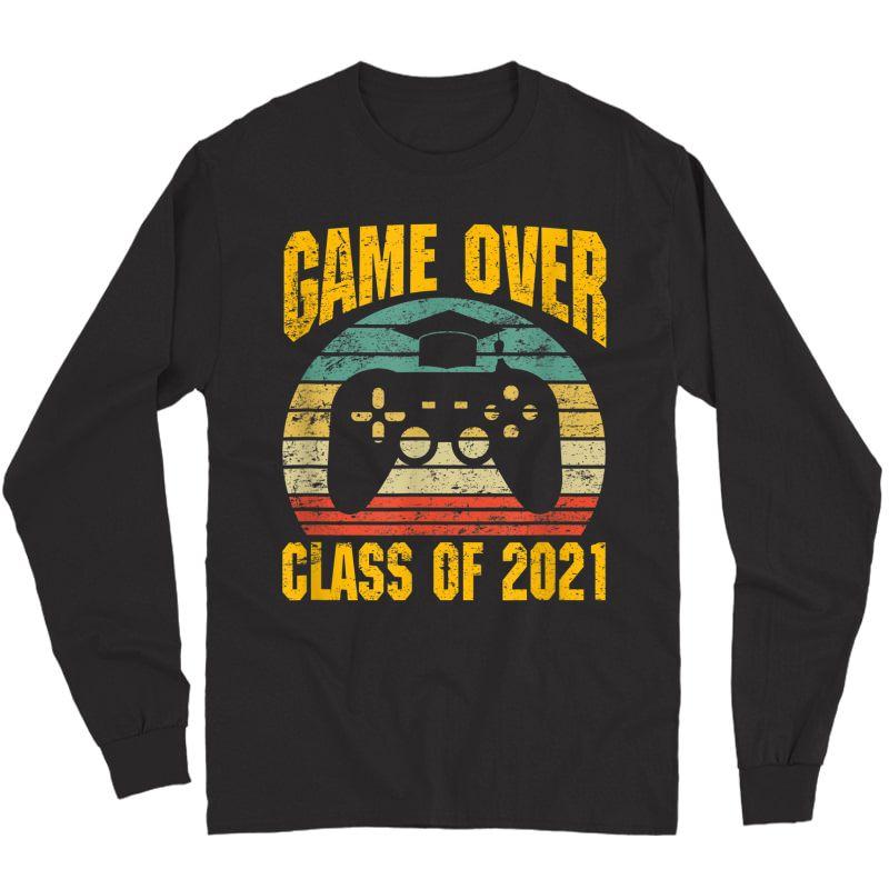 Vintage Game Over Class Of 2021 Senior Graduation Gamer T-shirt Long Sleeve T-shirt
