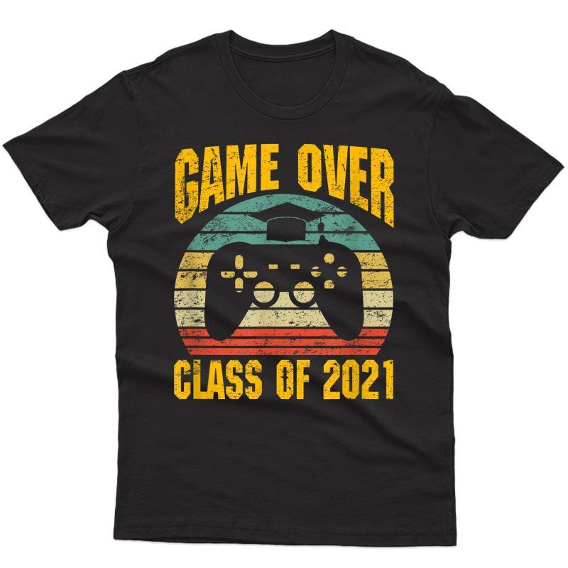 Vintage Game Over Class Of 2021 Senior Graduation Gamer T-shirt