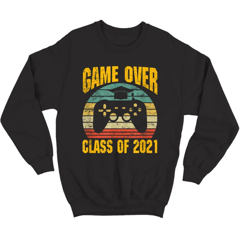 Vintage Game Over Class Of 2021 Senior Graduation Gamer T-shirt Crewneck Sweater