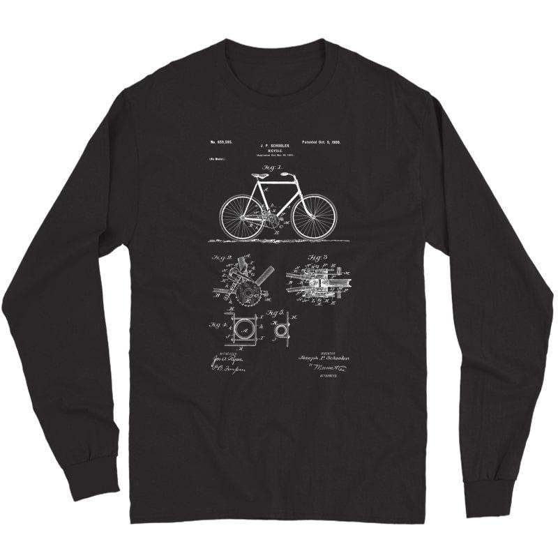 Vintage Patent Print 1900 Bicycle Cycling Gift T-shirt Long Sleeve T-shirt