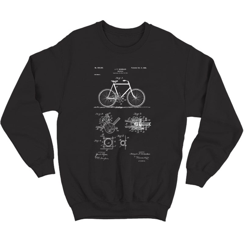 Vintage Patent Print 1900 Bicycle Cycling Gift T-shirt Crewneck Sweater